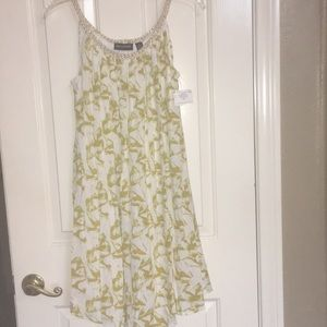 NINA LEONARD green / white dress with gold straps